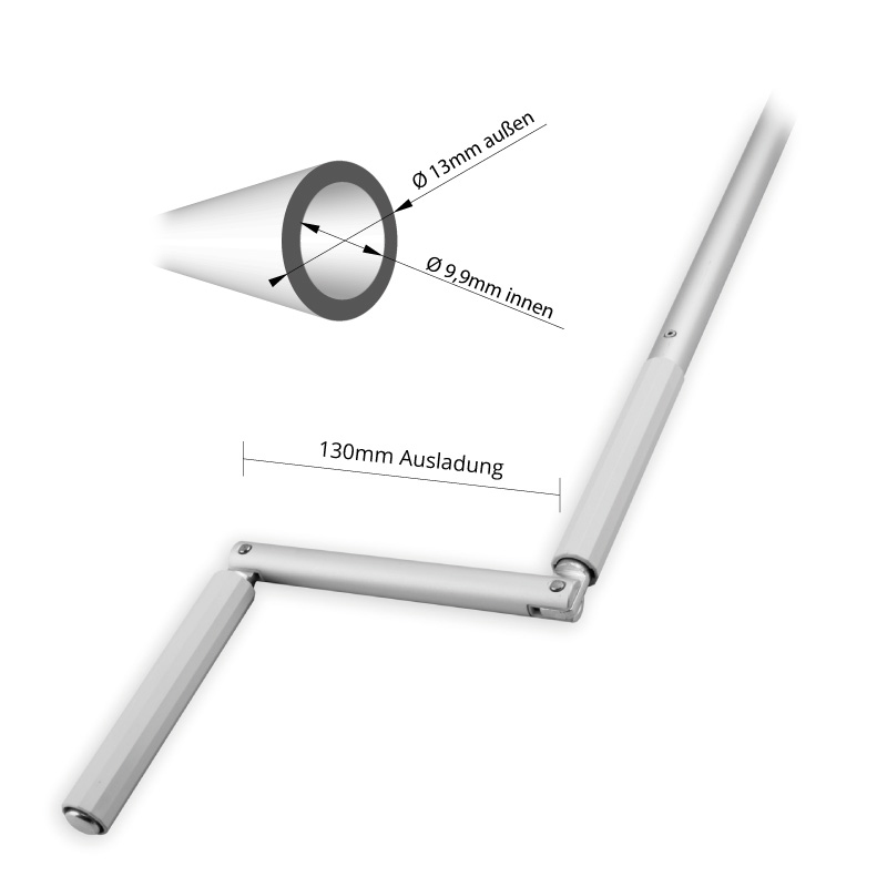 Abmessungen Kurbelstange für 9,9mm Zapfen