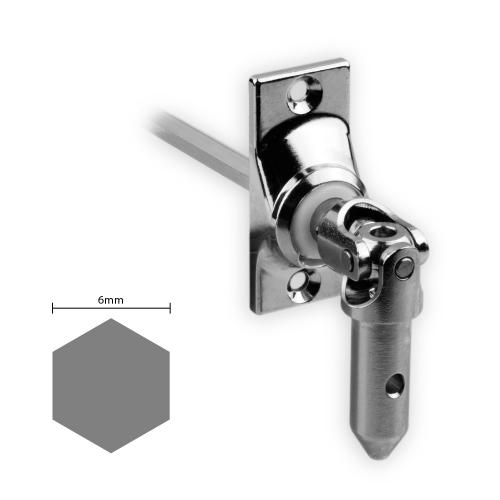 Gelenklager 45° - G014 | Grundplatte 22x52 mm | Kurbelzapfen 11,9 mm | 6 mm Sechskant