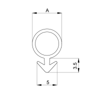 Einfräsdichtung EF012 | weiß | 5mm Schlauch (A) | 5 lfm