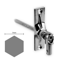 Gelenklager 45° - G007 | Grundplatte 22x85 mm | Kurbelzapfen 9,9 mm | 7 mm Sechskant