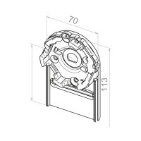 Motorlager für Vorbauelemente | Einbau links | Kastengröße 165mm | für RevoLine M Antriebe