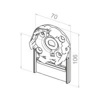 Motorlager für Vorbauelemente | Einbau rechts | Kastengröße 150mm | für RevoLine M Antriebe