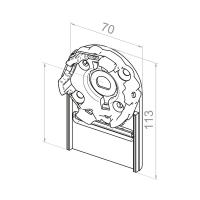 Motorlager für Vorbauelemente | Einbau rechts | Kastengröße 165mm | für RevoLine M Antriebe