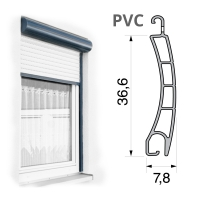 Vorbaurolladen mit Mini Kunststoff (PVC) Rolladen | 36,6 x 7,8 mm